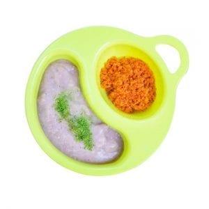 จานอาหารเด็กสีเขียว