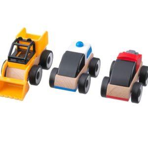 ของเล่นเด็ก - รถของเล่นไม้ คละสี 3 ชิ้น