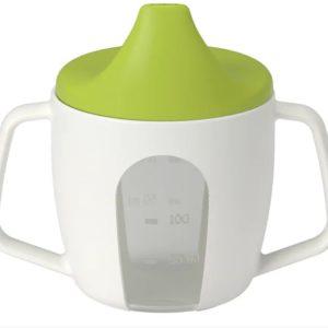 อุปกรณ์อาหารเด็ก - แก้วน้ำหัดดื่ม สีขาว-เขียว 1 ชิ้น